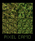Pixel camo seamless pattern Big set. Green, forest, jungle, urban, brown camouflages. Royalty Free Stock Photos