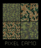 Pixel camo seamless pattern Big set. Green, forest, jungle, urban, brown camouflages. Royalty Free Stock Image
