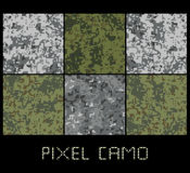 Pixel camo seamless pattern Big set. Green, forest, jungle, urban, brown camouflages. Royalty Free Stock Images