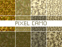 Pixel camo seamless pattern Big set. Green, forest, jungle, urban, brown camouflages. Vector fabric textile print designs Royalty Free Stock Photography