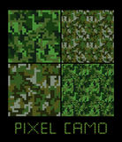 Pixel camo seamless pattern Big set. Green, forest, jungle, urban, brown camouflages. Stock Photo