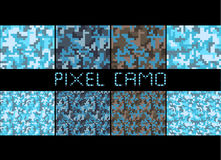 Pixel camo seamless pattern Big set. Urban blue camouflages. Royalty Free Stock Photography