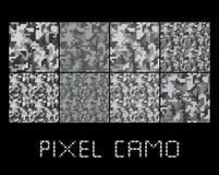 Pixel camo seamless pattern Big set. Urban grey camouflages. Stock Photos