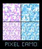 Pixel camo seamless pattern Big set. Urban, pink, blue, brown camouflages. Royalty Free Stock Photo