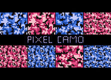 Pixel camo seamless pattern Big set. Urban, pink, blue, brown camouflages. Royalty Free Stock Photography