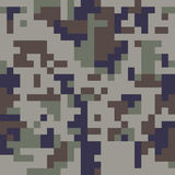 Pixel camo seamless pattern. Blue camouflage Stock Photos