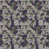 Pixel camo seamless pattern. Blue camouflage Royalty Free Stock Images