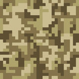 Pixel camo seamless pattern. Brown desert or jungle camouflage Stock Photography