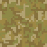 Pixel camo seamless pattern. Brown desert or jungle camouflage Royalty Free Stock Photography