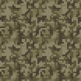 Pixel camo seamless pattern. Brown desert or jungle camouflage Stock Photos