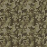 Pixel camo seamless pattern. Brown desert or jungle camouflage. Vector fabric textile print design Stock Photos