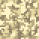 Pixel camo seamless pattern. Brown desert or jungle camouflage Royalty Free Stock Photo