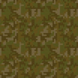Pixel camo seamless pattern. Brown desert or jungle camouflage Royalty Free Stock Image