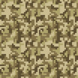 Pixel camo seamless pattern. Brown desert or jungle camouflage Stock Image
