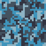 Pixel camo seamless pattern. Fashion blue trendy camouflage for game industry Stock Photos