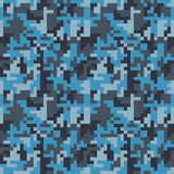 Pixel camo seamless pattern. Fashion blue trendy camouflage for game industry Royalty Free Stock Photography