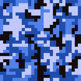 Pixel camo seamless pattern. Fashion blue trendy camouflage for game industry Royalty Free Stock Images