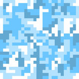 Pixel camo seamless pattern. Fashion blue trendy camouflage for game industry Royalty Free Stock Photo