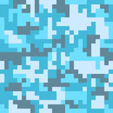 Pixel camo seamless pattern. Fashion blue trendy camouflage for game industry Stock Images