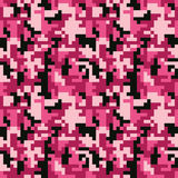 Pixel camo seamless pattern. Fashion pink trendy camouflage for game industry Royalty Free Stock Image