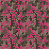 Pixel camo seamless pattern. Fashion pink trendy camouflage for game industry. Vector fabric textile print design. Femimine style Stock Photo