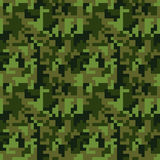 Pixel camo seamless pattern. Green forest camouflage. Vector fabric textile print design Stock Photo