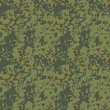Pixel camo seamless pattern. Green forest camouflage. Vector fabric textile print design Stock Photos