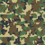 Pixel camo seamless pattern. Green, forest, jungle, urban, brown camouflages. Royalty Free Stock Images