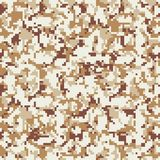 Pixel camouflage. Seamless digital camo pattern. Military texture. Brown desert color. stock illustration