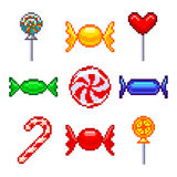 Pixel candies for games icons vector set Stock Image