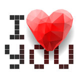 Pixel card I Love You with polygonal heart Royalty Free Stock Photography