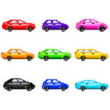 Pixel cars for games icons vector set Royalty Free Stock Images