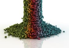 Pixel cascade. Colourful cascade of falling pixels Stock Photos