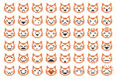 Pixel cat faces. Pixel cat different facial expressions, vector illustration Stock Photos