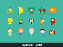 Pixel Characters. Pixel art characters, people in fruits and veggies costumes and people doing yoga stock illustration