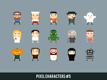 Pixel Characters. Different pixel art characters: cook, waiter, ghost, bride and groom, orc, old mage, arabian guy, robot stock illustration