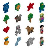 Pixel characters isometric Royalty Free Stock Image