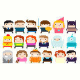 Pixel Characters. Many pixel art funny characters: businessman, warrior, princess, wizard, superhero, halloween party costume, alien, little girl in pajamas Royalty Free Stock Image