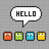 Pixel Characters Say Hello. Square characters with a Hello speech bubble, in pixel form stock illustration