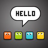 Pixel characters say hello. Against a grey background royalty free illustration