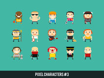 Pixel Characters. Set of different pixel art characters stock illustration