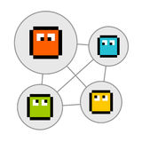 Pixel Characters in Social Networking Bubbles Royalty Free Stock Image
