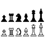 Pixel chess set Royalty Free Stock Images