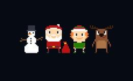 Pixel Christmas Characters Stock Image