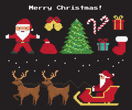 Pixel christmas symbols set. Of Santa Claus, christmas tree, red sock with gifts and sweets, two 8-bit reindeers with Santas sleigh Royalty Free Illustration