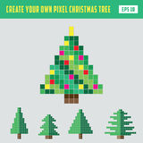 Pixel Christmas tree DIY vector illustration. With five kinds of trees Stock Photos