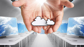 Pixel cloud network icon computer Royalty Free Stock Photography