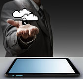 Pixel cloud network sign as concept Royalty Free Stock Photos