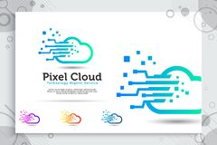 Pixel cloud vector logo with simple and modern style concept, illustration pixel and cloud as a symbol icon of technology digital. Corporate or software stock illustration