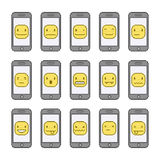 Pixel collection funny smiles and smart phones Stock Image